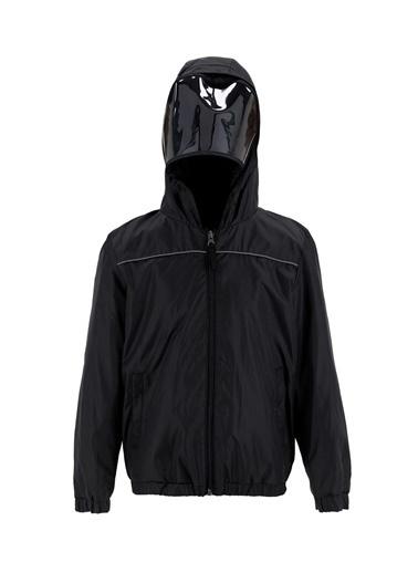 DeFacto Erkek Çocuk Çıkarılabilir Siperlikli  Kapüşonlu İnce Yağmurluk Siyah